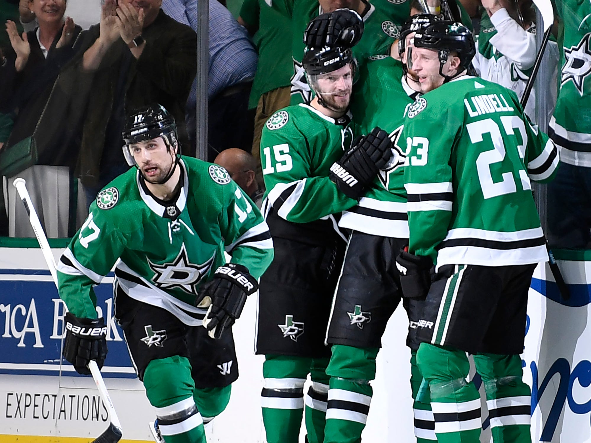 Dallas Stars left wing Blake Comeau (15) celebrates his goal during the second period of the divisional semifinal game against the Nashville Predators at the American Airlines Center in Dallas, Texas, Monday, April 22, 2019.