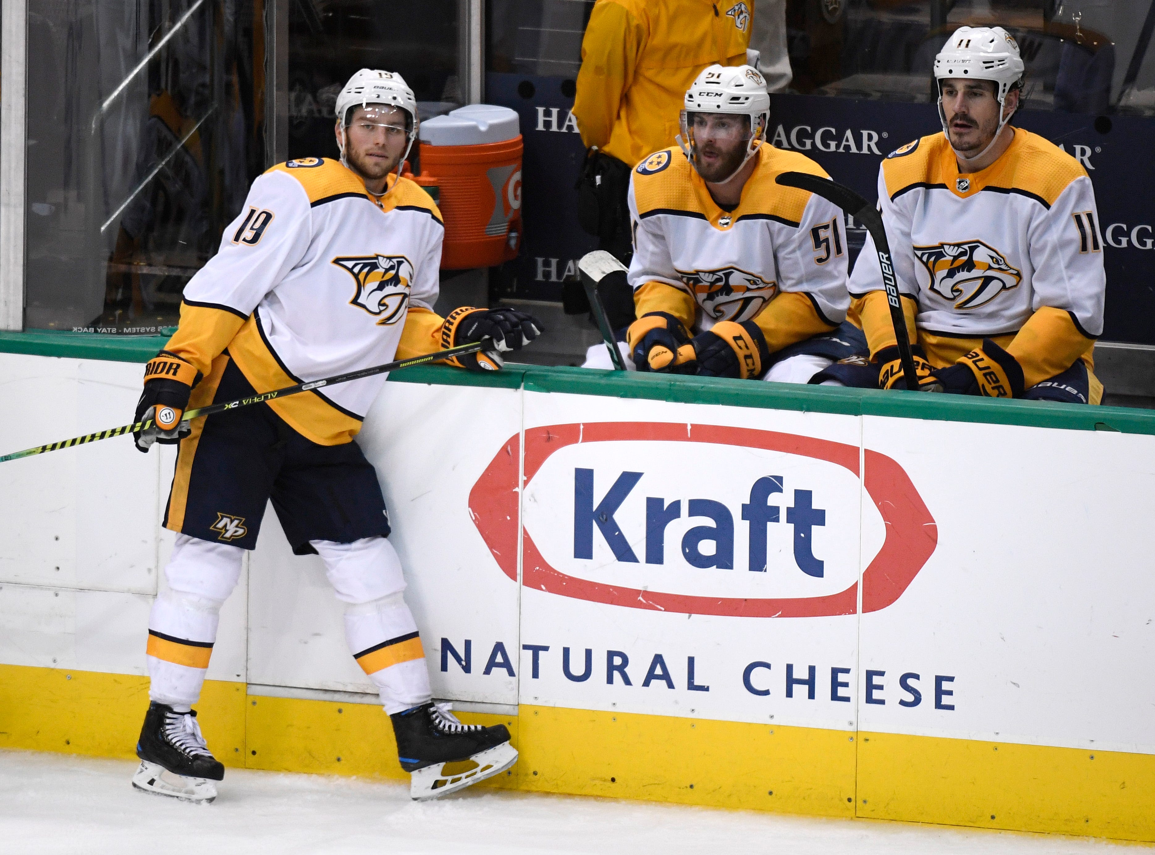 Nashville Predators center Calle Jarnkrok (19), left wing Austin Watson (51) and center Brian Boyle (11) react to their 2-1 overtime loss to the Dallas Stars in their divisional semifinal game at the American Airlines Center in Dallas, Texas, Monday, April 22, 2019.