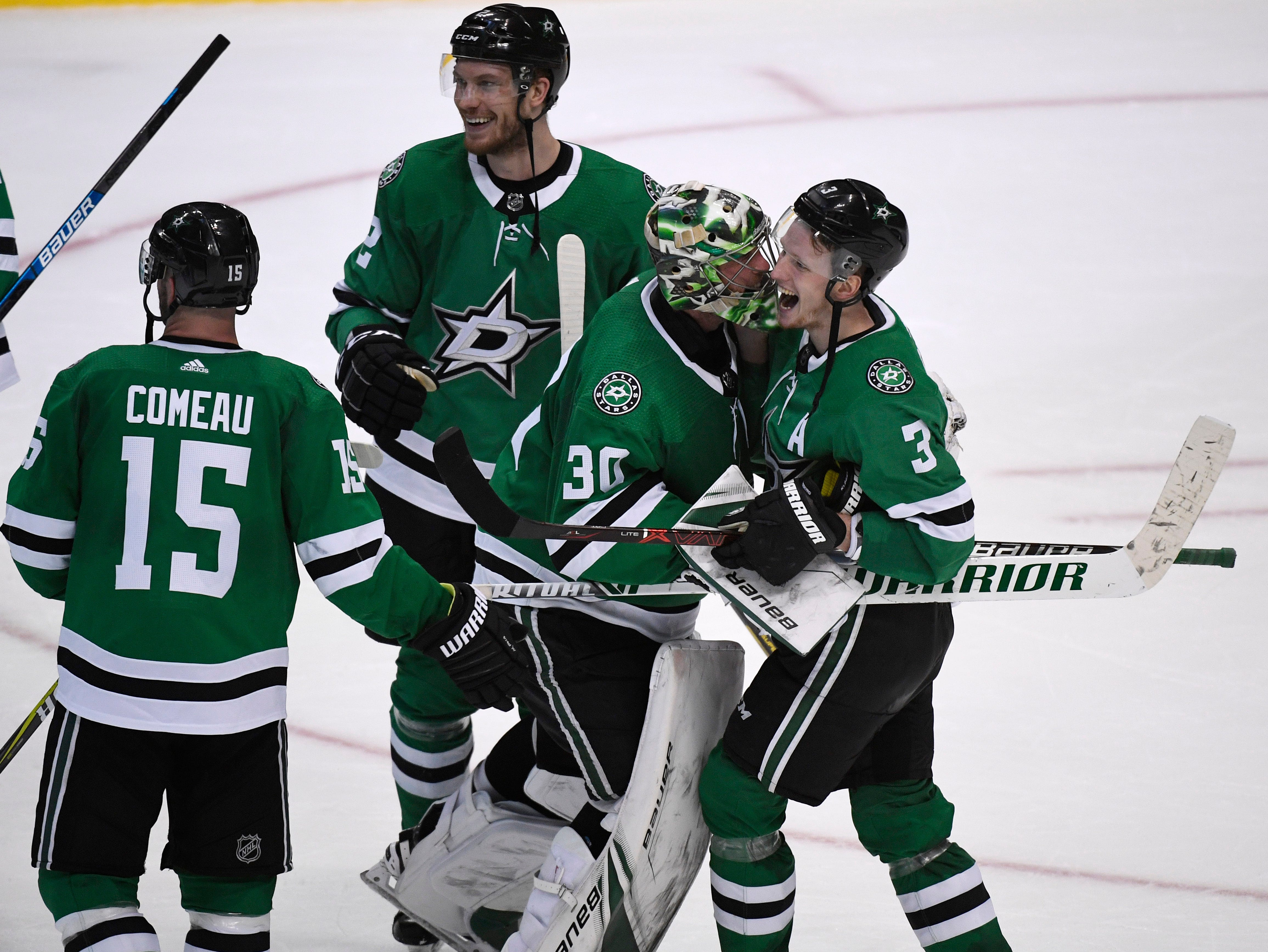 The Dallas Stars celebrate their 2-1 overtime win over the Nashville Predators, clinching their divisional semifinal series at the American Airlines Center in Dallas, Texas, Monday, April 22, 2019.