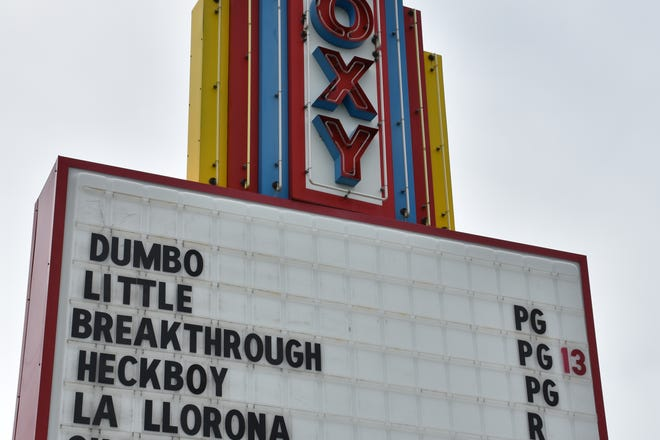 "The Roxy Movie Theater in Dickson is showing ""Hellboy,"" though the sign out front shows a slightly different title: ""Heckboy."""