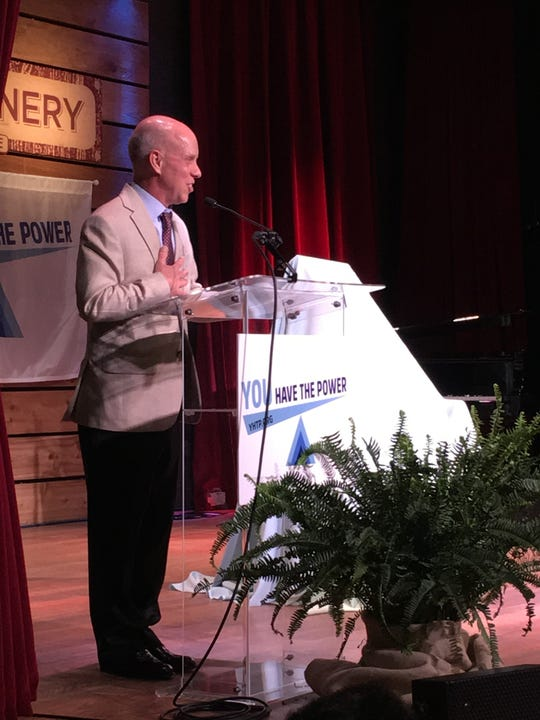 Scott Hamilton speaks during the Powerhouse Awards on April 23, 2019, at City Winery in Nashville.