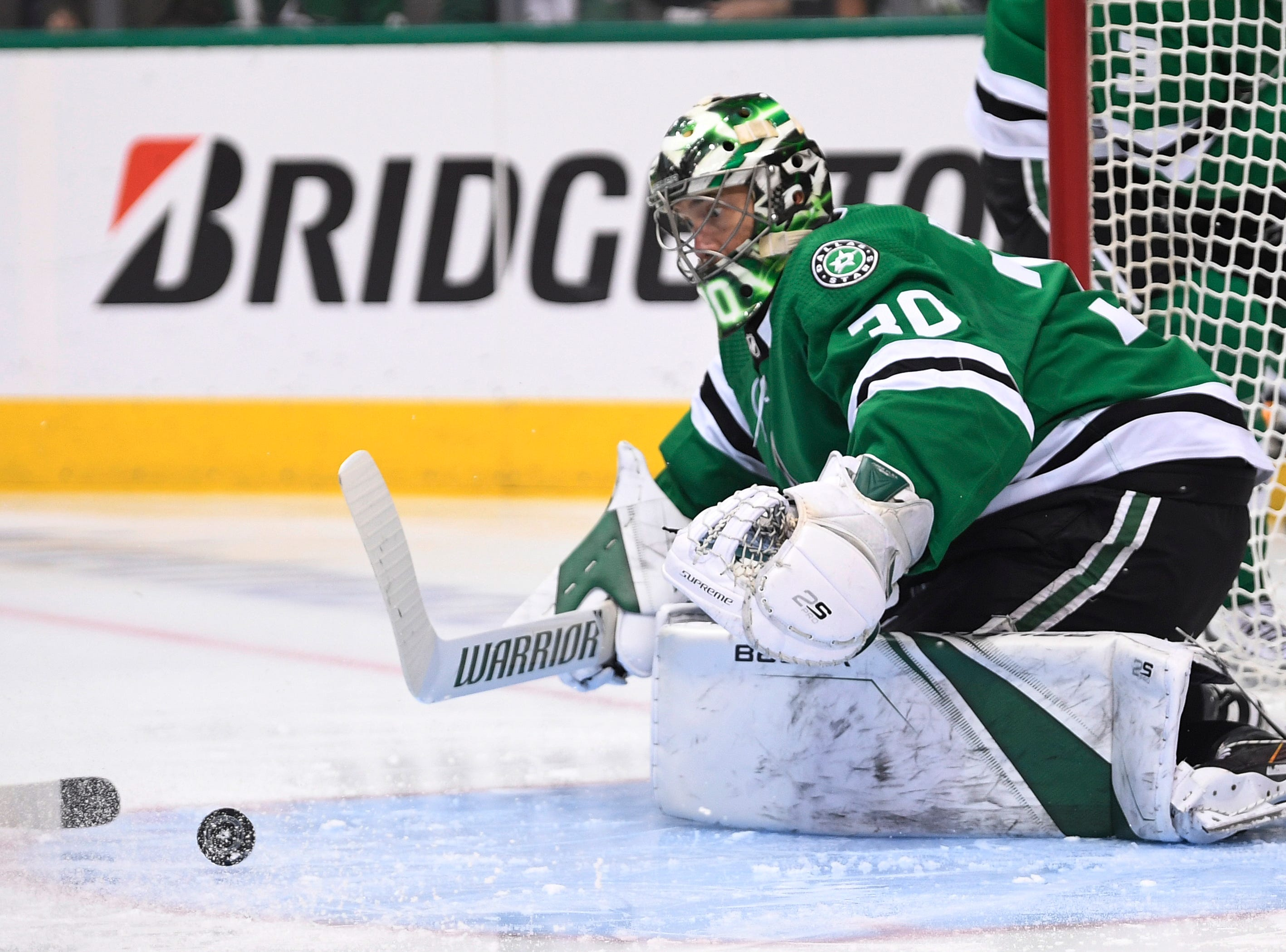 Dallas Stars goaltender Ben Bishop (30) defends the net against the Nashville Predators during the first period of the divisional semifinal game at the American Airlines Center in Dallas, Texas, Monday, April 22, 2019.
