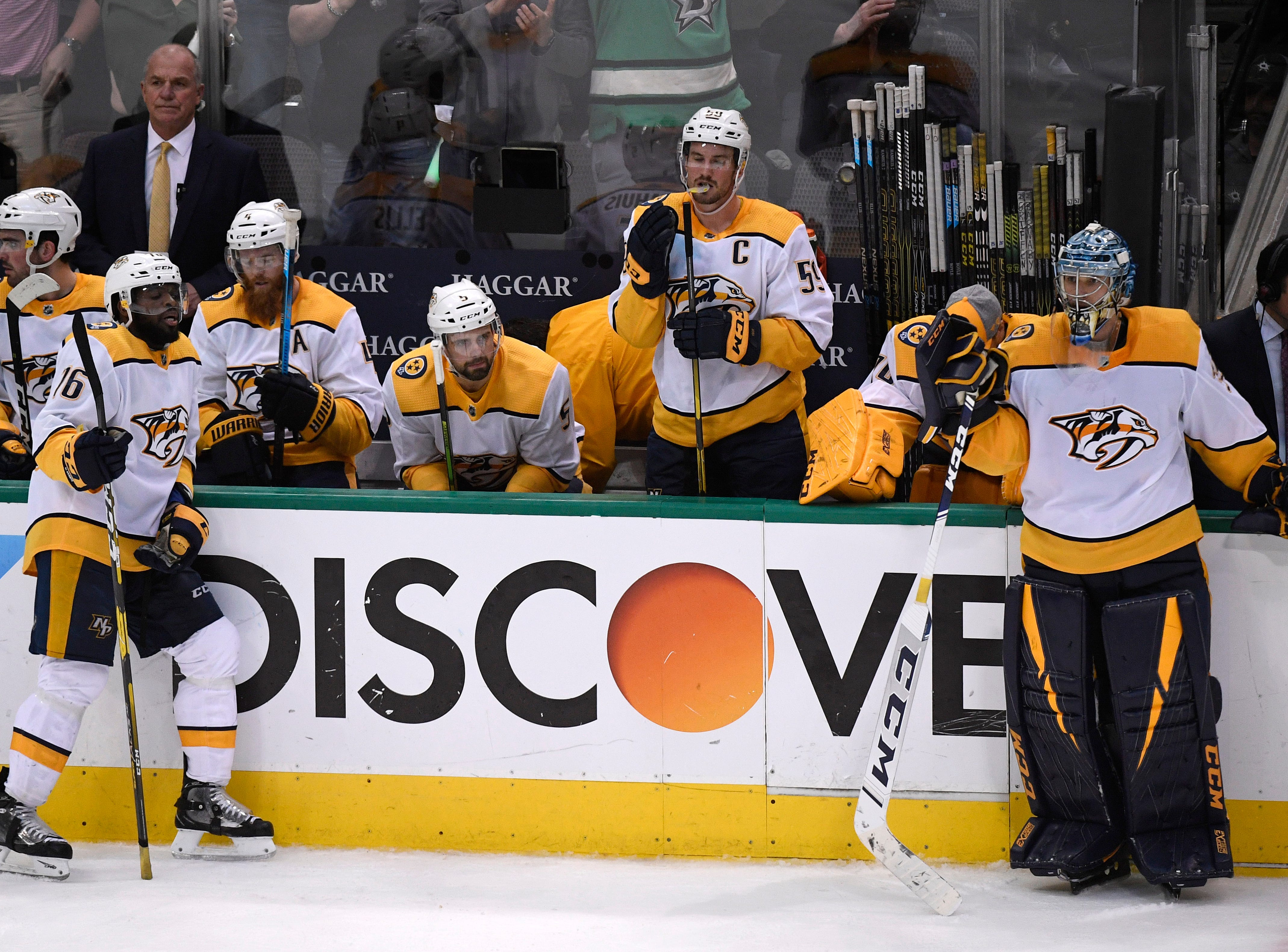 The Predators react to their 2-1 overtime loss to the Dallas Stars in the divisional semifinal game at the American Airlines Center in Dallas, Texas, Monday, April 22, 2019.