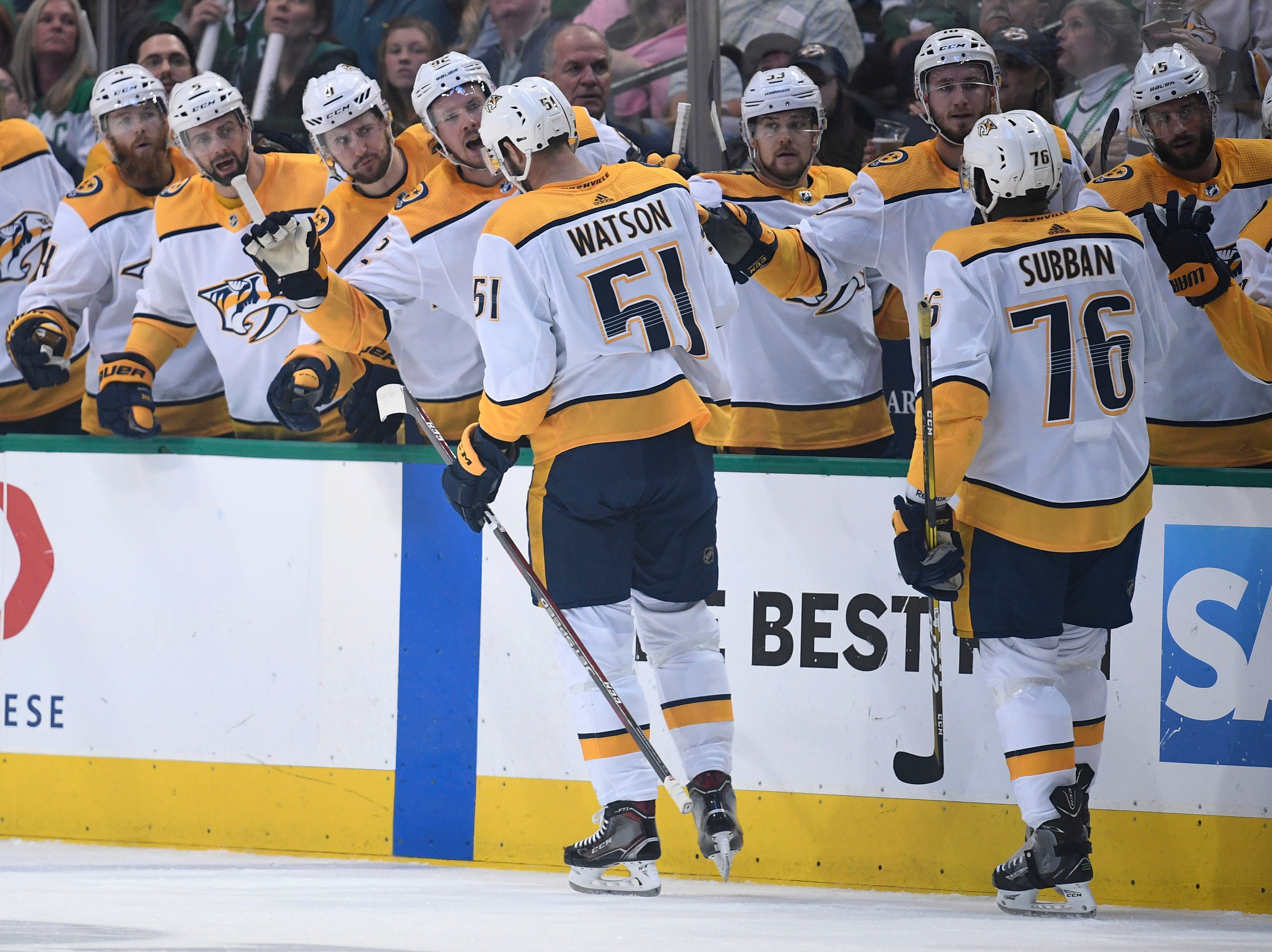 Nashville Predators left wing Austin Watson (51) celebrates his goal during the first period of the divisional semifinal game at the American Airlines Center in Dallas, Texas, Monday, April 22, 2019.