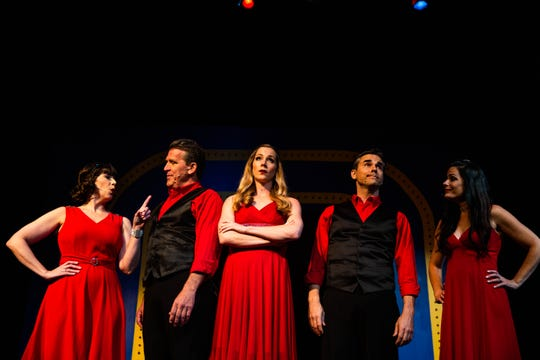 Laura Hodos, Patrick Ryan Sullivan, Kayley Stevens, Charles Logan, and Carolann Sanita perform in the musical review of Kander and Ebb songs from Cabaret, Chicago and other musicals at G&L Theatre in Naples on Monday, April 22, 2019.