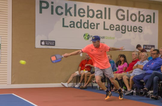 Kyle Yates, from Fort Myers, competes in the Pickleball Global Challenge Cup in 2018. Yates is playing in the event this year, which returns to the indoor courts at Tennis & Pickleball US in Bonita Springs from Wednesday through Friday.