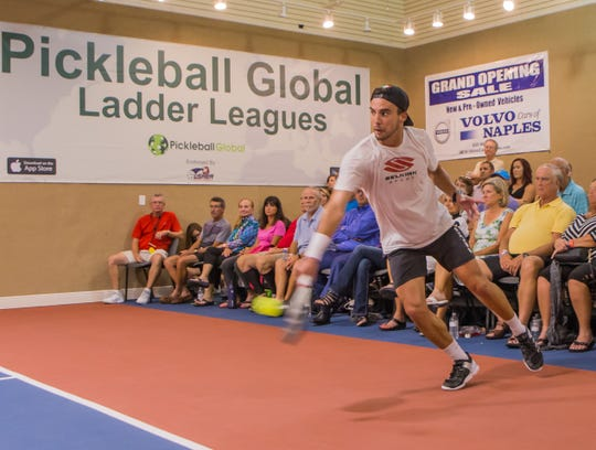 Tyson McGuffin returns the ball during the Pickleball Global Challenge Cup at Tennis US last year. The event returns to Bonita Springs this year and will feature 25 of the highest-ranked pickleball players in the world from Wednesday through Friday.
