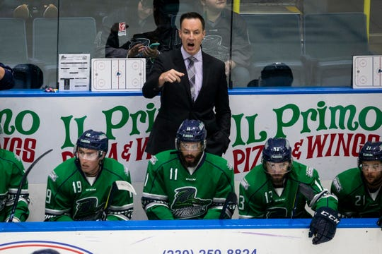 Florida Everblades Head Coach Brad Ralph yells during Game 6 of the ECHL Kelly Cup Playoffs South Division Semifinals against the Jacksonville Icemen at Hertz Arena in Estero on Monday. The Everblades beat the Icemen 5-1.