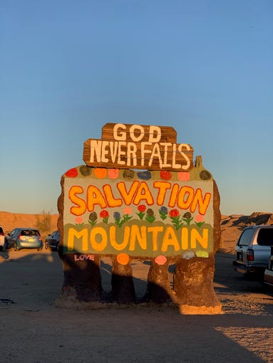 Salvation Mountain signage. Outside Palm Springs, California, Jan. 2, 2019