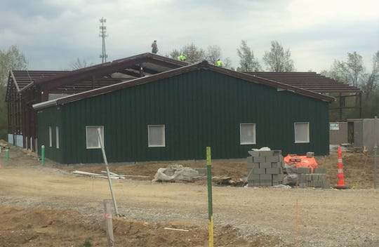 Work continues on the new Village Service Complex on Columbus Road.