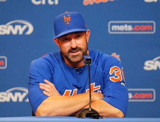 April 22, 2019; New York City, NY, USA; New York Mets  manager Mickey Callaway addresses the media at a press conference prior to the game between the New York Mets and the Philadelphia Phillies at Citi Field. Mandatory Credit: Andy Marlin-USA TODAY Sports
