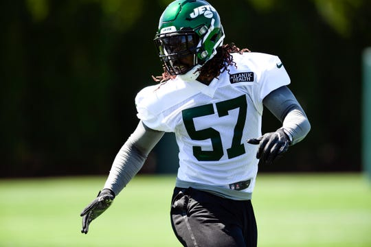 New York Jets linebacker C.J. Mosley runs drills during practice on Tuesday, April 23, 2019, in Florham Park.
