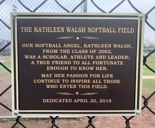 The sign that hangs over the DePaul softball field naming it for Kathleen Walsh.