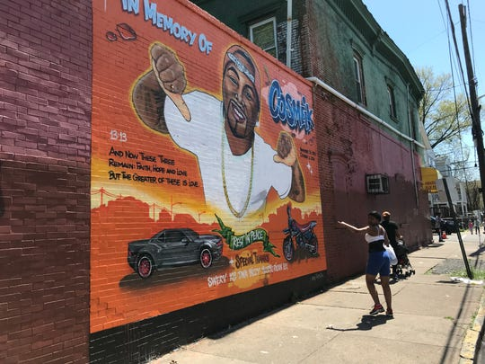 A mural to Cosmeik Gee on Auburn Street in Paterson.