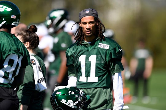 New York Jets wide receiver Robby Anderson seen on the field during practice on Tuesday, April 23, 2019, in Florham Park.