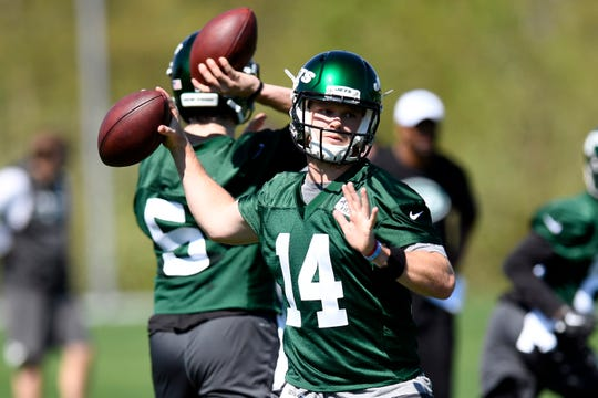 New York Jets quarterback Sam Darnold throws the ball during practice on Tuesday, April 23, 2019, in Florham Park.