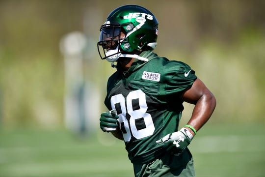 New York Jets' Ty Montgomery (88) seen during practice on Tuesday, April 23, 2019, in Florham Park.