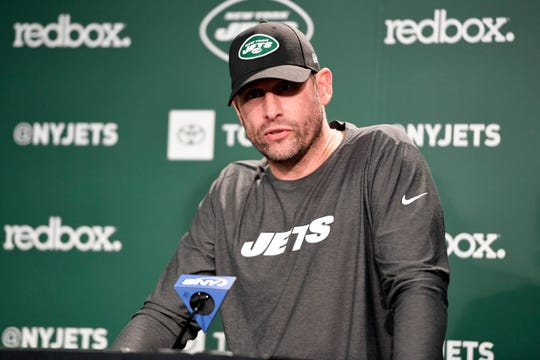 New York Jets head coach Adam Gase holds a press conference after practice on Tuesday, April 23, 2019, in Florham Park.
