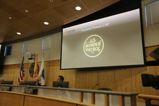 The Doña Ana County Board of County Commissioners listens Tuesday, April 23, 2019 to a presentation by a regional U.S. Board Patrol official.