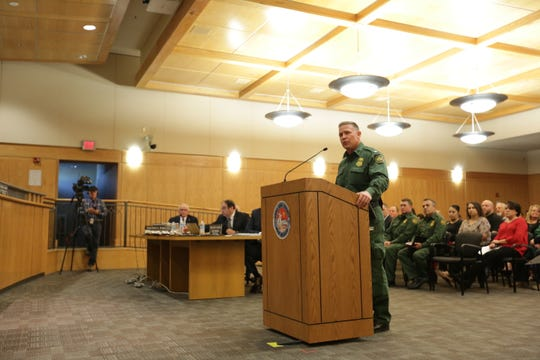 Chief Patrol Agent Aaron Hull of the U.S. Border Patrol's El Paso Sector explains on Tuesday, April 23, 2019 the agency's decision to release immigrants in Las Cruces starting earlier this month. Hull was invited to address the five-member Doña Ana County commission.