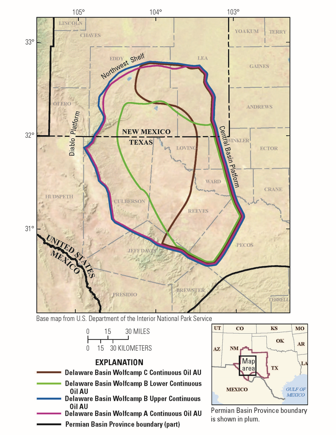 The U.S. Geological Survey potentially discovered the largest underground oil and gas resource in America's history in this area of New Mexico and Texas: the Wolf Camp Shale within the Bone Spring Formation in the Permian Basin.