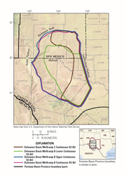 A map of the Wolf Camp Shale within the Bone Spring Formation in the Permian Basin. The U.S. Geological Survey potentially discovered the largest underground oil and gas resource in America's history in this area.