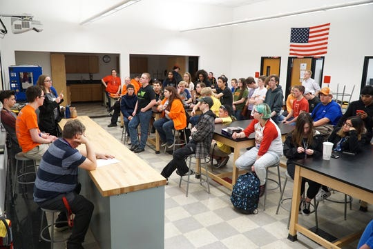 Canton High students meet in a room near the school's auto shop on April 22.
