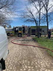 Lyon Township responds to a fire on Martindale Road on Sunday, April 21, 2019.
