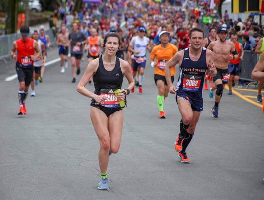 Franklin resident Erica Shell had the best time among area female runners at the Boston Marathon, posting a time of 2:59:46.