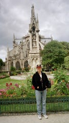 Bernadine Bogdanovs Naggs outside Notre Dame Cathedral in Paris.