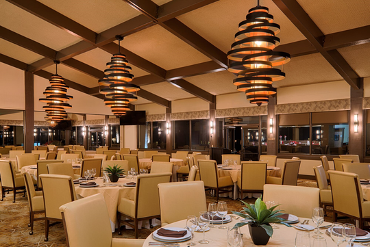 The dining room at the clubhouse at Chaparral Country Club in Palm Desert have been renovated in recent years