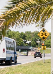 Traffic makes its way Tuesday under the Graffiti Bridge on 17th Avenue in Pensacola.