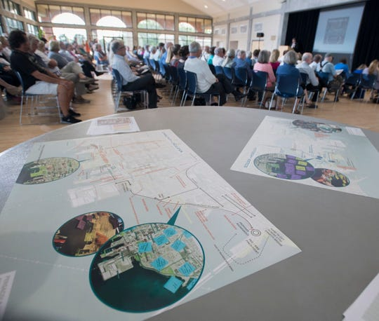 A standing room only crowd listens Monday as SCAPE Landscape Architecture representatives talk about proposed plans for the Pensacola waterfront during a CivicCon presentation at the Sanders Beach-Corinne Jones Resource Center in Pensacola.