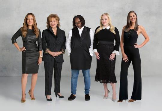 "The women of ""The View:"" Sunny Hostin (from left), Joy Behar, Whoopi Goldberg, Meghan McCain and Abby Huntsman."