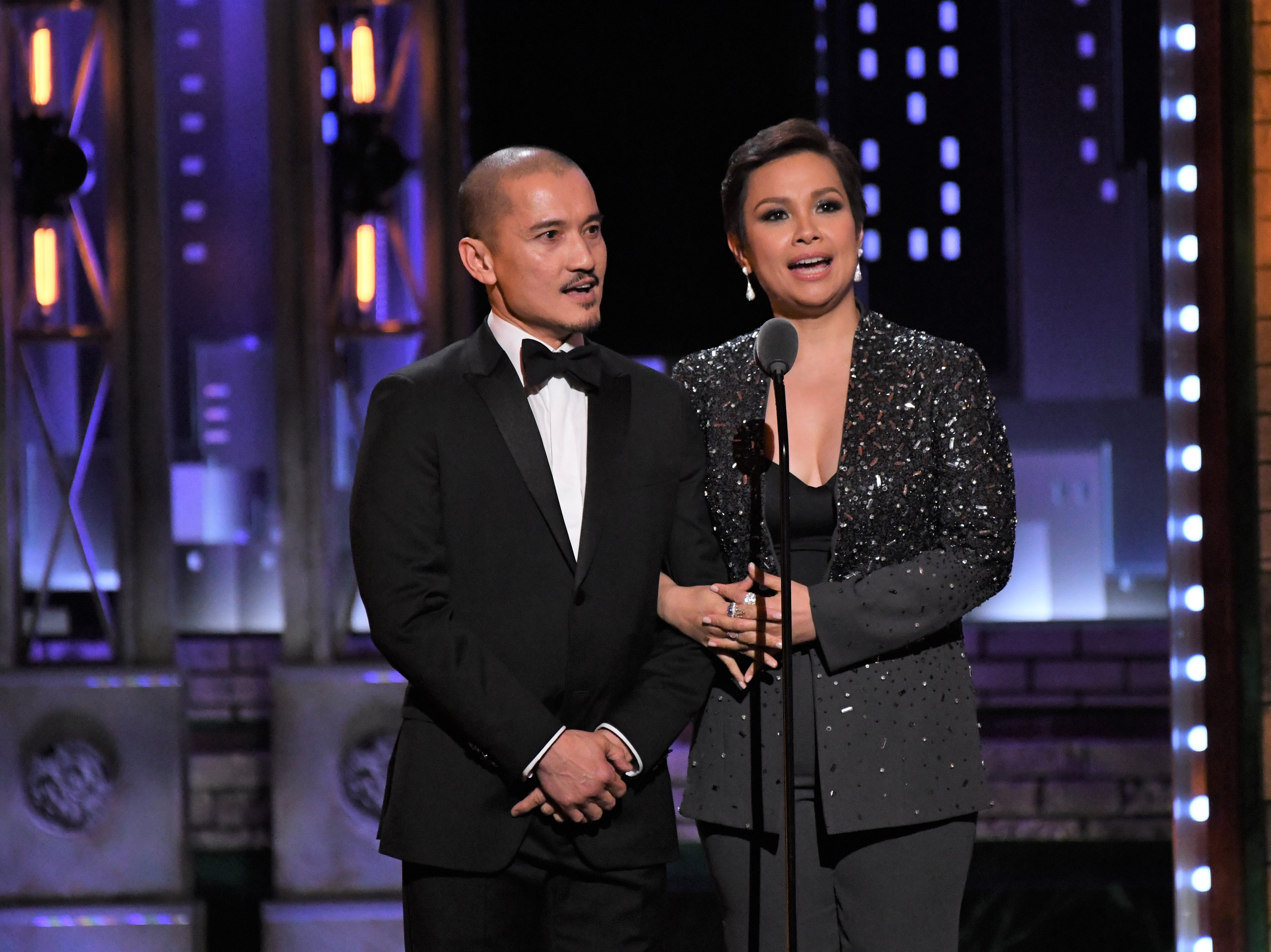 Jon Jon Briones and Lea Salonga introduce the performance by the cast of Miss Saigon at the Tony Awards in 2017.