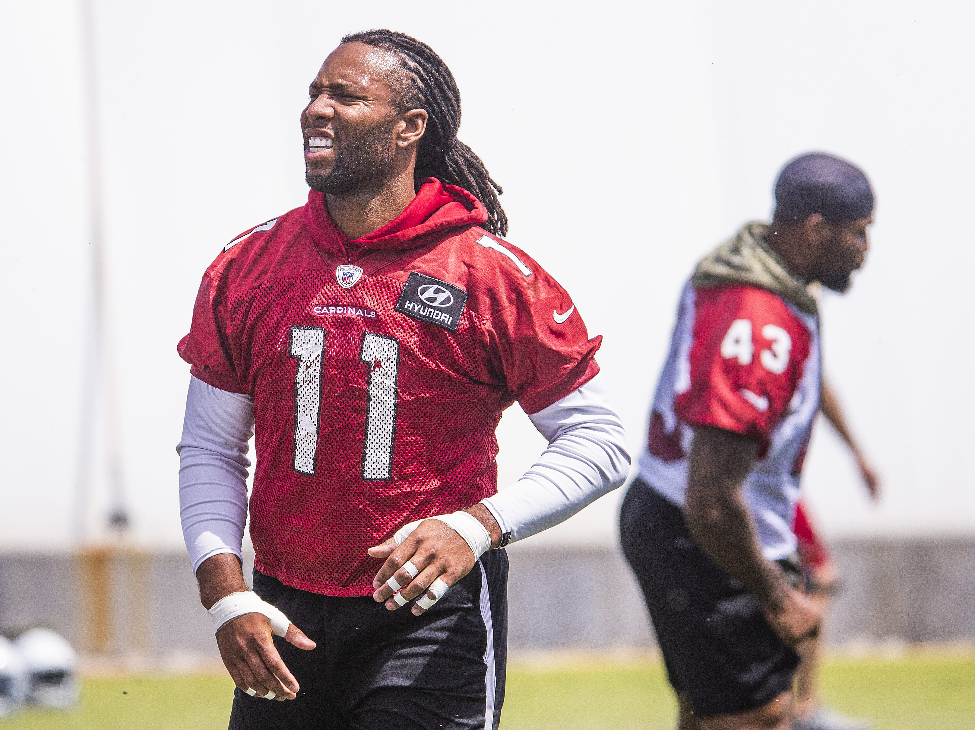 Arizona Cardinals wide receiver Larry Fitzgerald prepares for this 16th season with the Cardinals at the optional mini camp at the Tempe training facility, Tuesday, April 23, 2019.