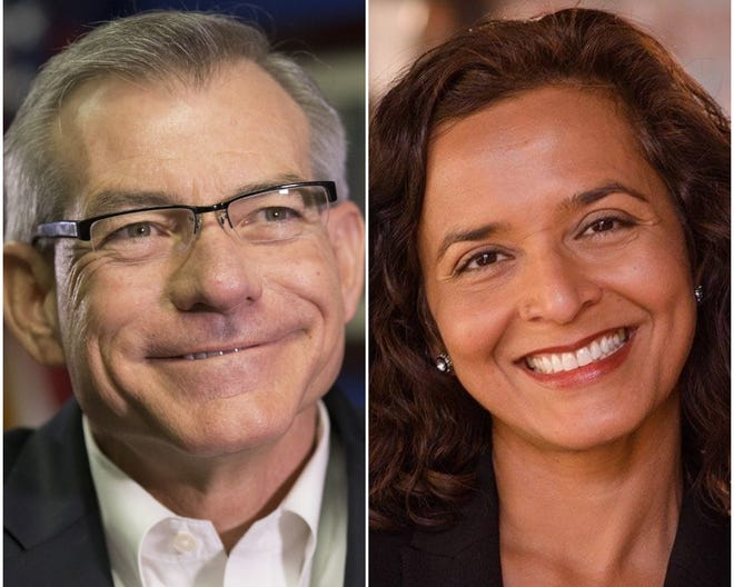 Candidates for Arizona U.S. House District 6: Republican U.S. Rep. David Schweikert (left) and Democrat Hiral Tipirneni.