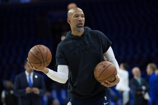 Apr 15, 2019; Philadelphia, PA, USA; Philadelphia 76ers assistant coach Monty Williams before game two of the first round of the 2019 NBA Playoffs against the Brooklyn Nets at Wells Fargo Center.