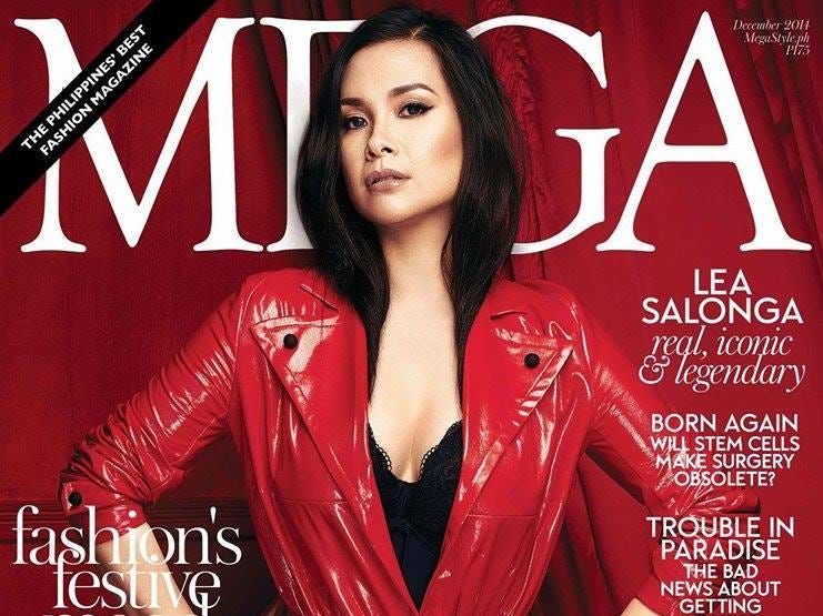 Cover girl: Lea Salonga models pieces  by Via Valencia on the cover of Philippines' Mega magazine from December 2014.