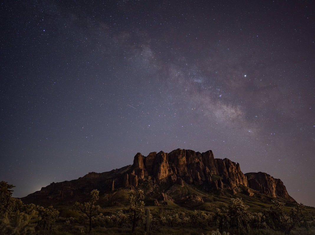 Superstition Mountains at night.