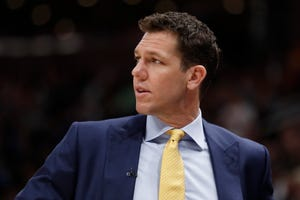Mar 27, 2019: Los Angeles Lakers head coach Luke Walton watches the action against the Utah Jazz in the first half at Vivint Smart Home Arena.