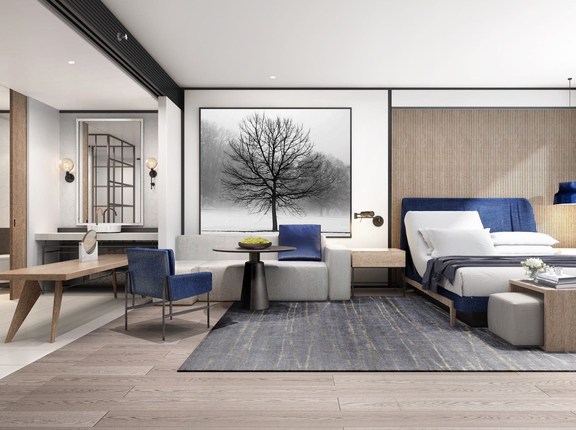 Rendering of the guest-room redesign at the Sheraton Grand Phoenix hotel. Renovations will begin in mid-June.