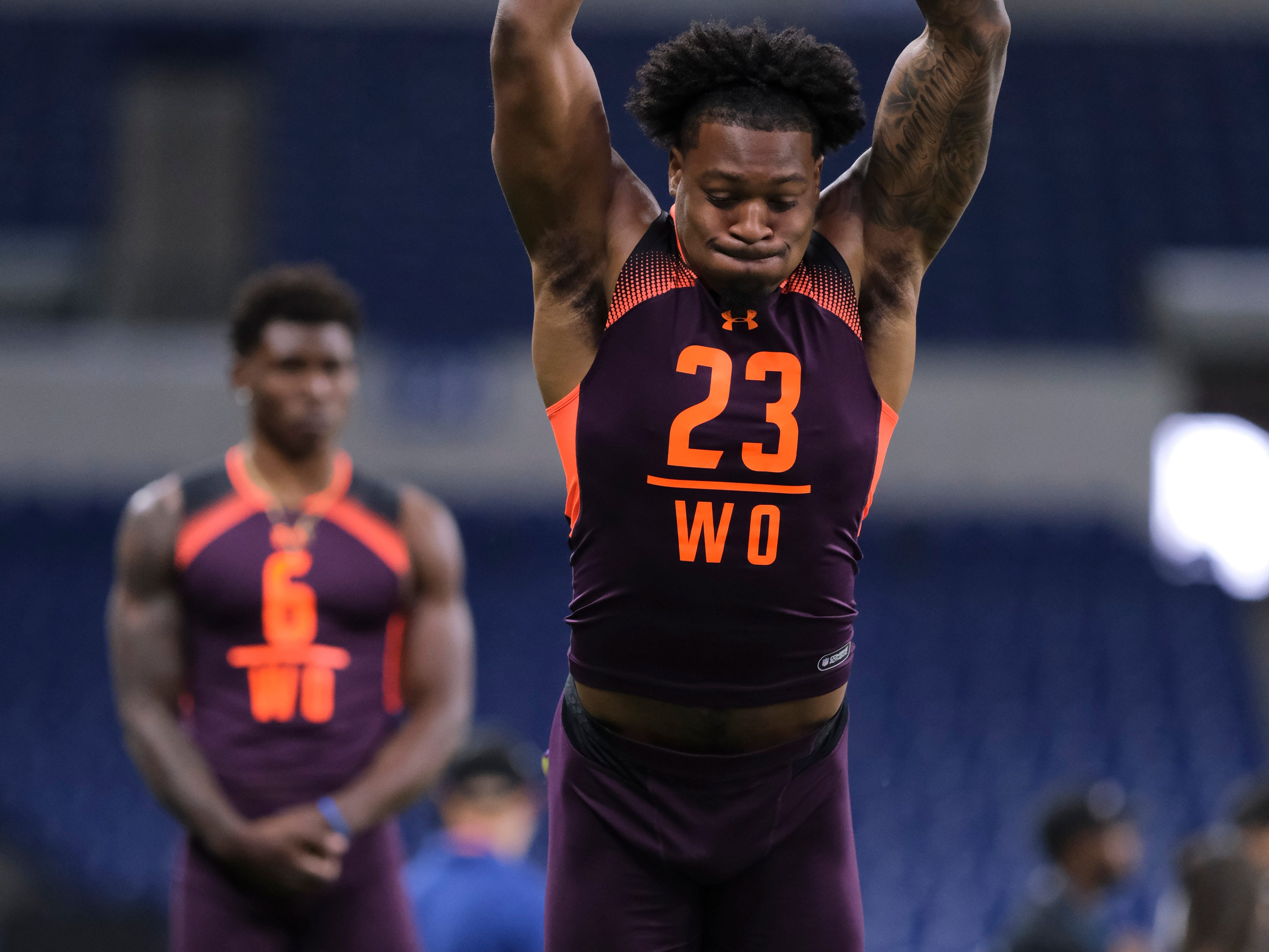 Arizona State wide receiver N'Keal Harry participates in the NFL football scouting combine in Indianapolis, Thursday, Feb. 28, 2019. (AP Photo/AJ Mast)