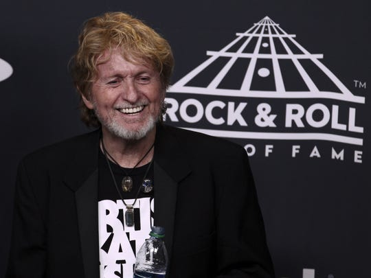 Jon Anderson of the band Yes poses in the 2017 Rock and Roll Hall of Fame induction ceremony press room at the Barclays Center on Friday, April 7, 2017, in New York.