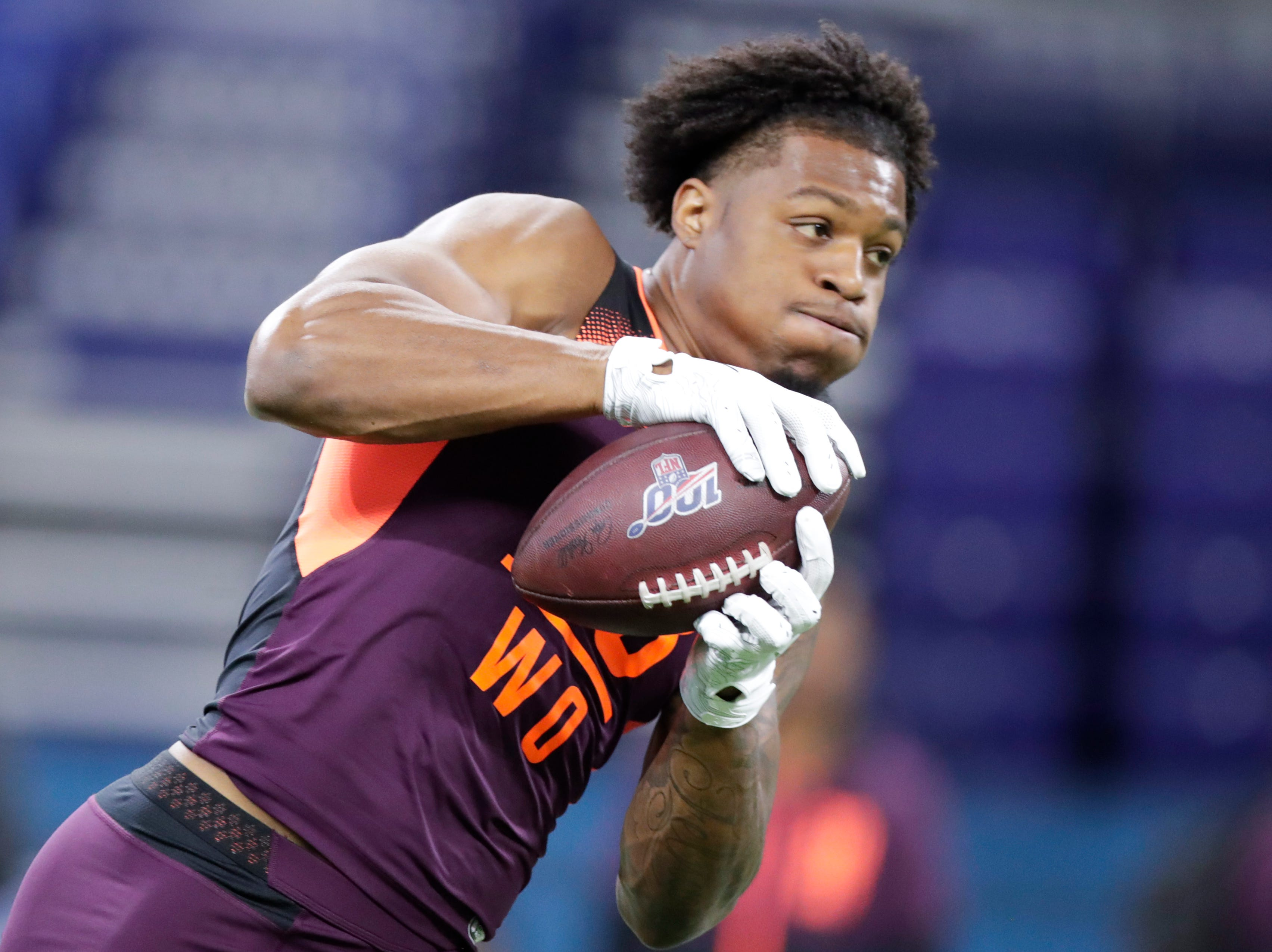 Arizona State wide receiver N'Keal Harry runs a drill at the NFL football scouting combine in Indianapolis, Saturday, March 2, 2019. (AP Photo/Michael Conroy)