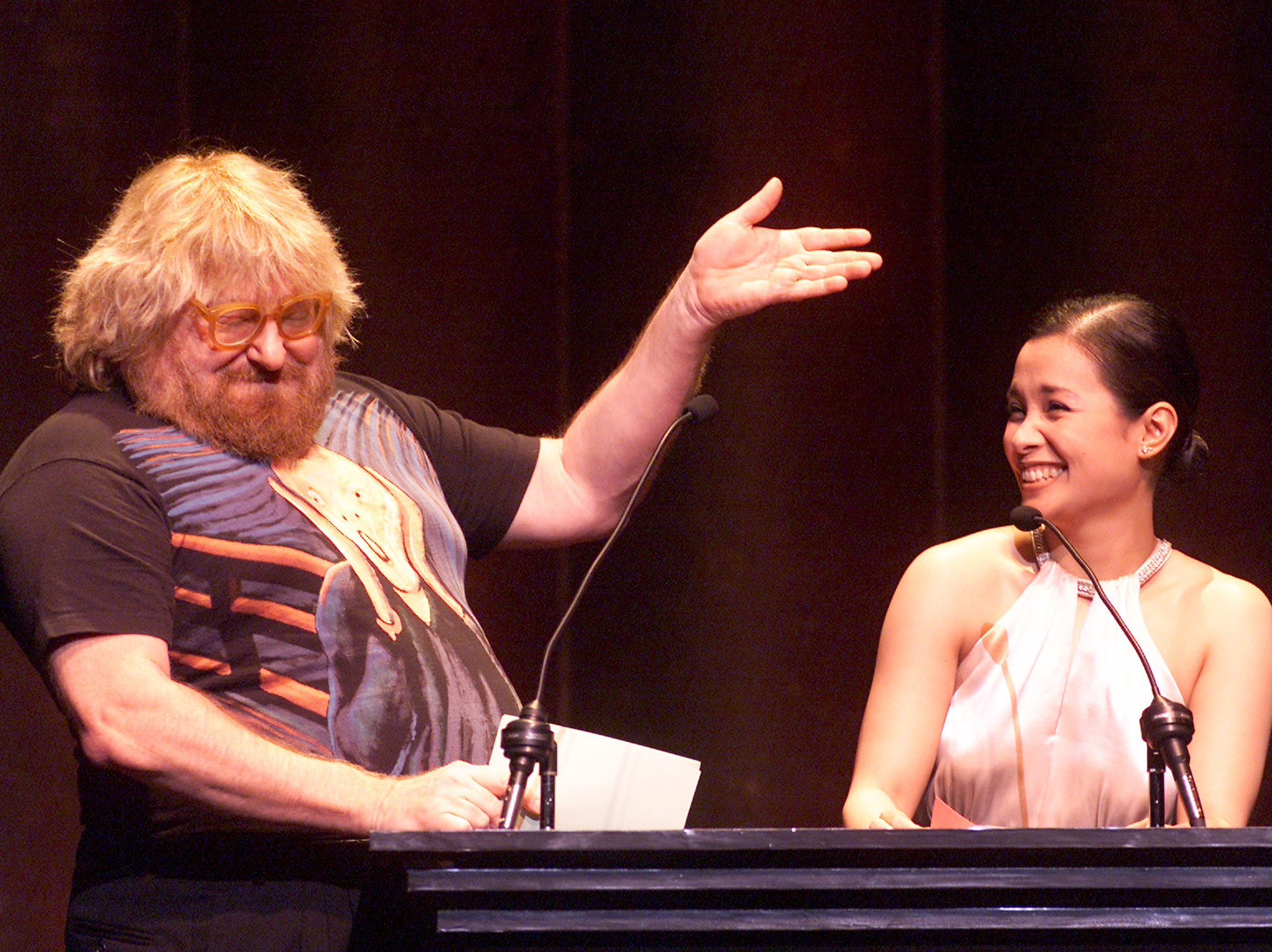 Bruce Vilanch and Lea Salonga host the 2001 Ovation Awards at the Kodak Theatre in Los Angeles on Nov. 12, 2001.