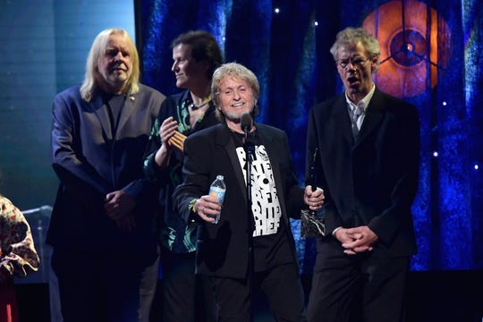 Jon Anderson and Yes are inducted in the Rock & Roll Hall Of Fame on April 7, 2017, in New York City.