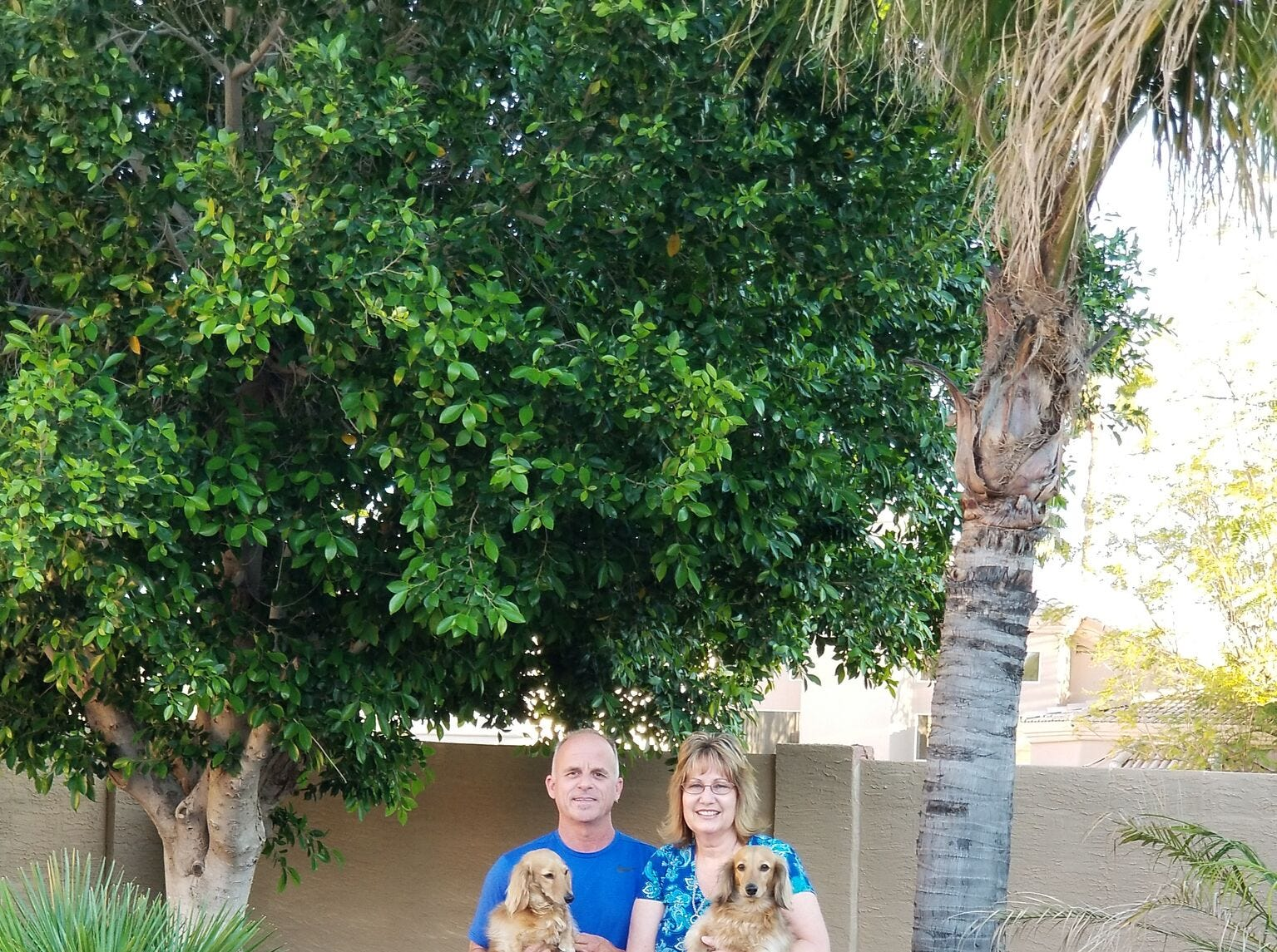 Mary Beth and Bruce LeBoeuf with pups, Finley and Gunner.