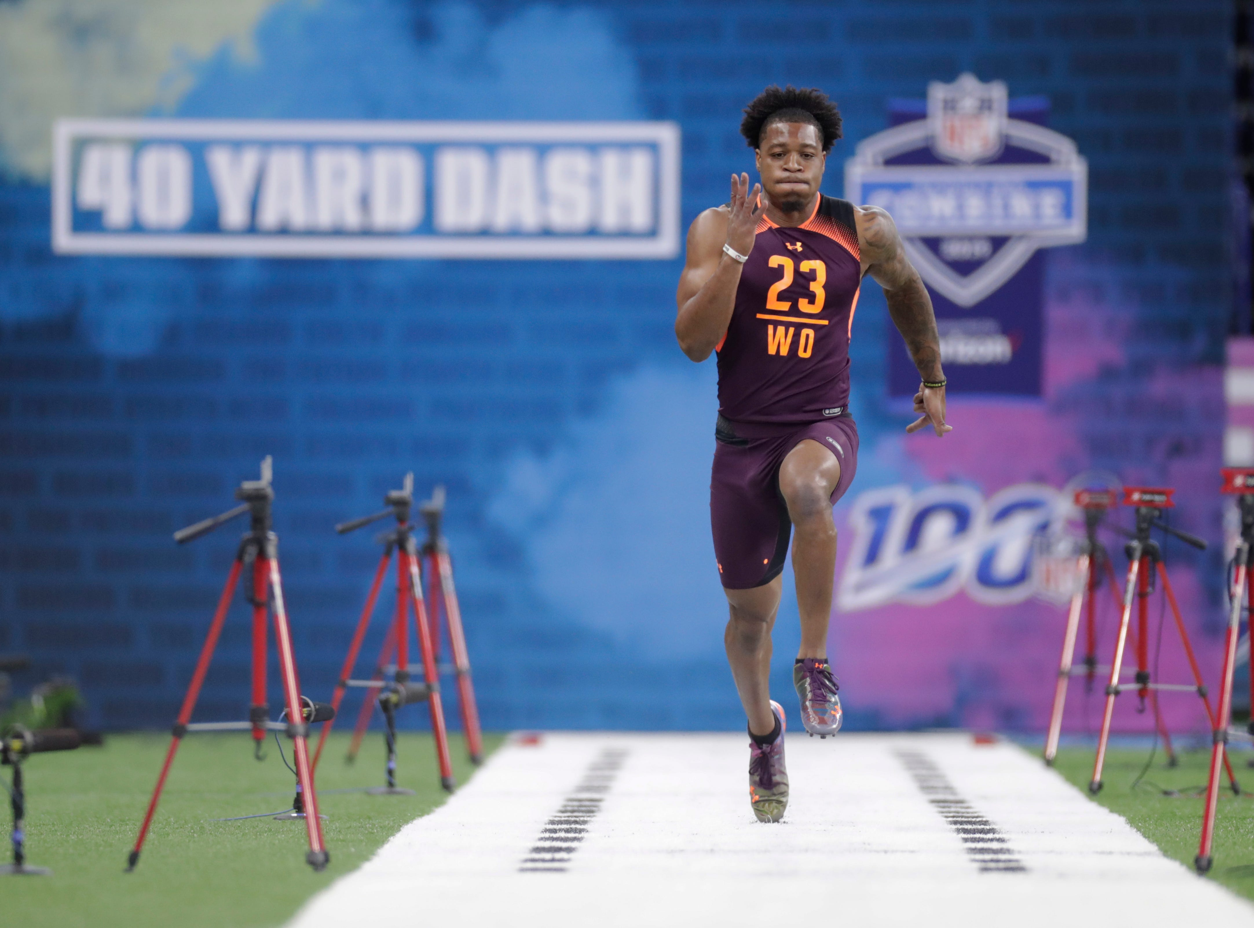Arizona State wide receiver N'Keal Harry runs the 40-yard dash at the NFL football scouting combine in Indianapolis, Saturday, March 2, 2019. (AP Photo/Michael Conroy)