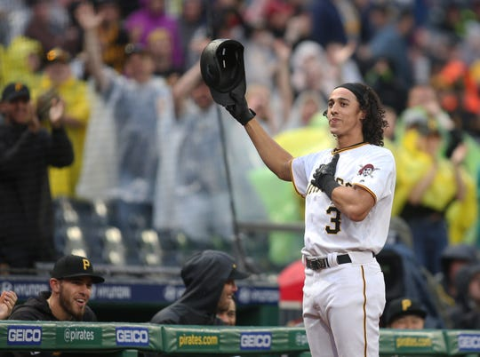 Mountain Pointe product and Pirates shortstop Cole Tucker takes a curtain call after hitting a two-run home run for his first major league hit on Saturday.